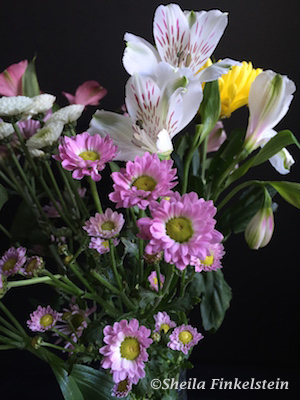 segment of mixed flower bouquet on day received