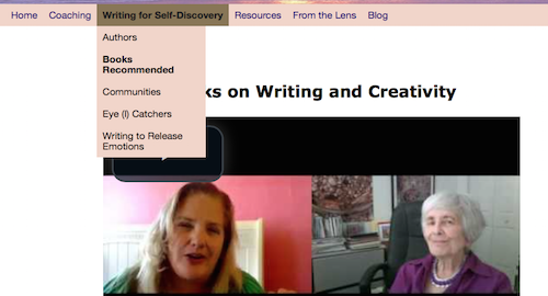 Screen shot of drop down menu on Writing for Self-Discovery tab on http://TreasureYourLifeNow.com