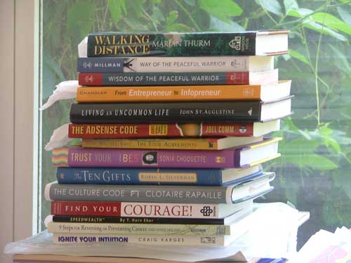 spines showing on a pile of books close-up in front to window on http://TreasureYourLifeNow.com