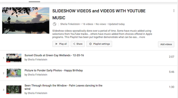 http://TreasureYourLifeNow.com shares Section of Slideshow Videos Playlist on YouTube Some with YouTube music