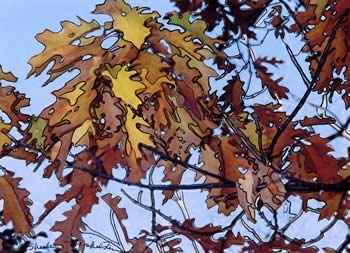 Brown autumn leaves in a photo/drawing by Sheila Finkelstein
