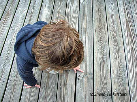 Boy studies a wood knot in Green Cay Wetlands